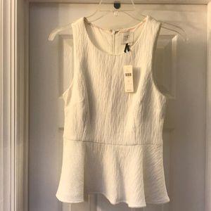 Anthropologie peplum white shirt. NWT. Size 2